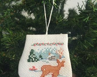 Winter Scene Mitten Ornament