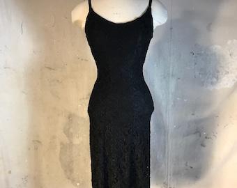 cathrine coatney designer 90s vintage prom dress black lace sleeveless knee length mesh stretch tight
