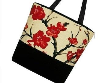 Large Tote Diaper Bag Book Bag purse zipper pockets - Asian Cherry Blossom - SPECIAL PRICE