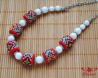 Embroidered necklace red white jewelry agate necklace Unique beaded necklace boho jewelry fabric jewelry gift idea for wife gifts for sister