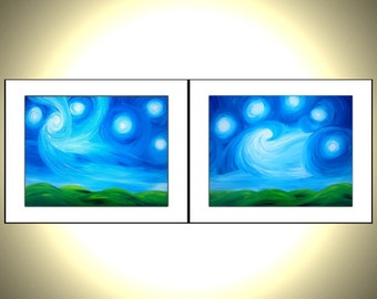 2 PRINTS With MATTES of Original Night Stars Painting Sale , Fathers Day Gift, Fathers Day Sale