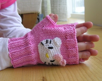 Kids Arm Warmers, Wrist warmers, Fingerless gloves, Pink, Cotton, Girls gloves, Spring Sale, Kitty arm warmers, Kitty