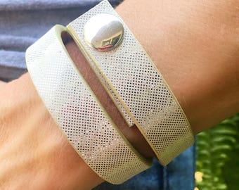 Silver Leather Wrap Bracelet, Double Wrap Leather Cuff, Silver Leather Bracelet, Leather Wrap, Leather Cuff, Leather Bracelet, Gift for Her