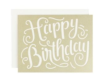 Birthday Calligraphy Laser Cut Card