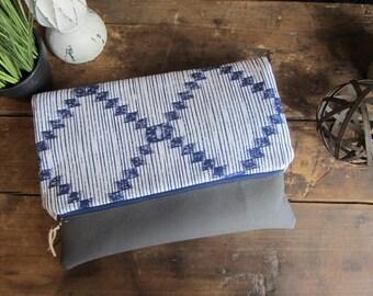 Large Fold Over Clutch Bag -Navy Stripe with Gray Vegan Leather Bottom, Foldover Zipper Clutch, Navy Clutch Bag