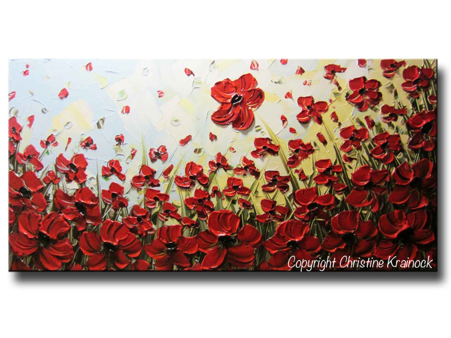 Custom art abstract painting red poppy flowers large art zoom mightylinksfo Image collections