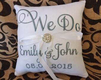 Ring Bearer Pillow, embroidered ring bearer pillow, custom pillow,personalized, wedding pillow, ring pillow, monogrammed, we do pillow,