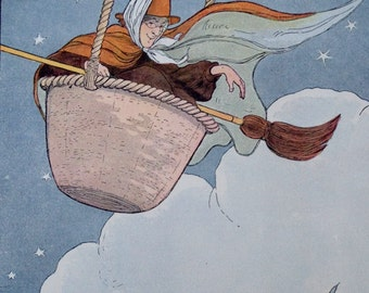 The Old Woman Tossed in a Basket Mother Goose Blanche Fisher Wright Illustration