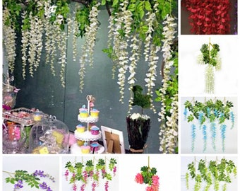 12 Wisteria Hanging Flowers Garland For Wedding Backdrops, Birthday Party Decors, Picture Prop Backdrops, 110cm