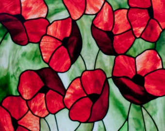 Poppies Stained Glass Pattern. © David Kennedy Designs.