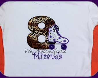 Girls Leopard Print Roller Skate Birthday Shirt Zebra Cheetah Personalized First Birthday Any Number Custom Monogrammed  Applique