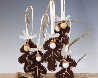 ONE Wool Needle Felted Assorted Waldorf Inspired OAK LEAF Ornament