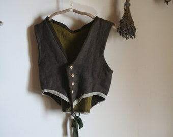 Homemade tribal gypsy vest medieval pixie lace waist coat