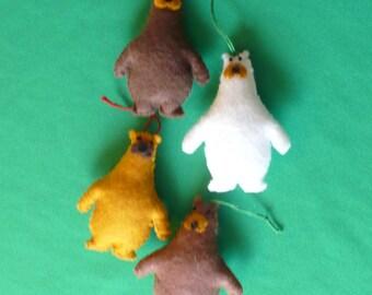 Four Felt Polar Bear Ornaments