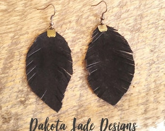 Leather Teardrop Earrings. Leather Feather Earrings. Genuine Leather. Distressed Boho Style. Summer Earrings. Handmade Jewelry. Black Suede