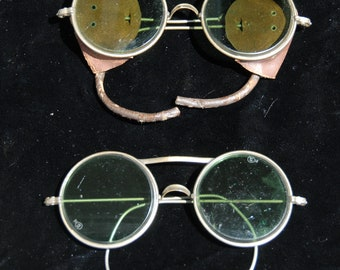 Vintage Motorcycle Safety Sun Glasses Sunglasses with Leather Blinders 2 pair AS IS