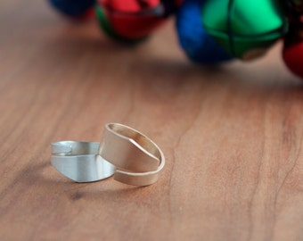 Stackable Asymmetric Ring Set, Geometric Statement Ring Set, Bronze and Silver Rings