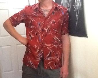 VINTAGE 70's 80's mens geometric/ surf festival shirt