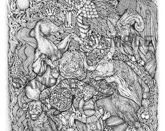 "Digital download-Printable PDF-Coloring Page-Adult Coloring-Printable Wall Art-Art print-Hand-Drawn ""Animal Zodiac."""