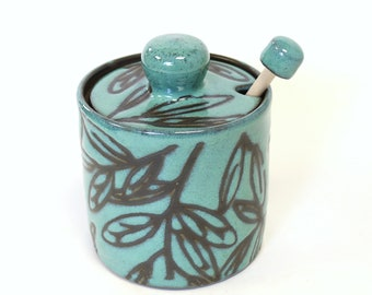 Turquoise  Honey Pot with a Natural Wood Honey Stick