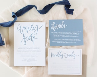 PRINTABLE Dusty Blue Invitation Suite| Modern Simple Slate Blue Invitation Suite| Blue Minimal Invitations | 5x7 Wedding Invitation Suite