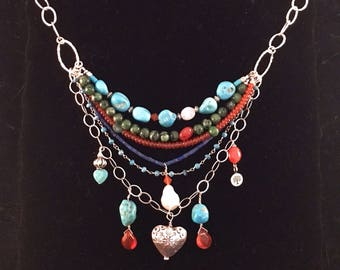 Southwest Multi-Strand Silver and Turquoise Necklace