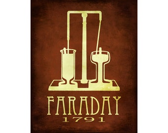 16x20 Michael Faraday Science Art Steampunk Rock Star Scientist Poster Poster Print Chemistry Physics Electromagnetic Geek Chic Nerd Decor