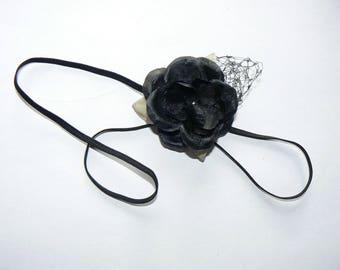 Bandeau Fleur soie Noire
