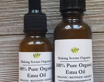 100% Pure Natural Organic Emu Oil-Grade A-No Additives or Fragrance