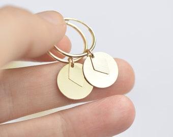 Gold filled disc hoops, geometric hoops. 14kt gold filled earrings, gold filled hoops, charm hoops, minimalist hoops, simple earrings