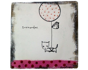 Surrender. Acrylic paint, ink and encaustic on plastered reclaimed wood. 18 x 18cm. (7 x 7 inches.)