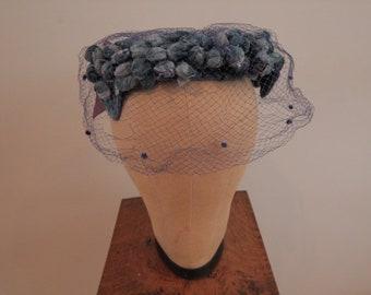 1950's Blue Velvet Hat with Tulle Veil