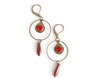 Shaman - Earrings bronze roses red and Pearl drops