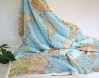 Europe map blanket etsy map of the world throw blanket sherpa fleece cotton continents dorm blanket gumiabroncs Images