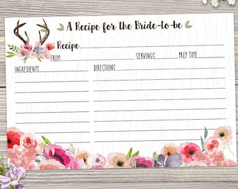 """Printable Rustic Antlers Faux Bois Watercolor Wildflowers Recipe Card, Bridal Wedding Shower, 6""""x4"""", Two JPGs, Instant Download"""