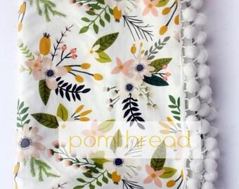 Pom Pom Blanket Pompom Blanket Floral Baby Blanket Girl Baby Gift Spring Blanket Floral Baby Bedding Jersey Knit Blanket Boho Nursery Decor
