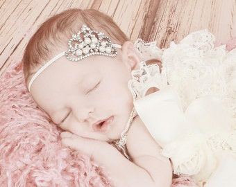Baby Headband, Baby Tiara, Crystal & Pearl Tiara Headband, Newborn Princess Tiara, Infant Princess Headband, Toddler Girls Headband