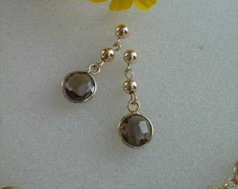 Gold Earrings, 585 goldfilled with smoky quartz
