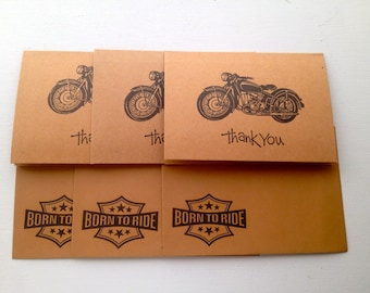 Motorcycle Thank you cards, set of 3, Masculine thank you card set, hand stamped,