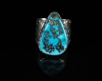 Men's Turquoise Ring; Sterling Silver, Handmade, Size 14.75, #R0232