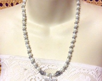 Vintage rhinestone cross silver marcasite beads and imitation pearls necklace.