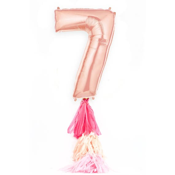"""40"""" Rose Gold Number 7 Balloon, Giant Rose Gold Balloon, Rose Gold Party Decor, Seven Balloon, 40 in Balloon Large Number 7 Seventh Birthday"""