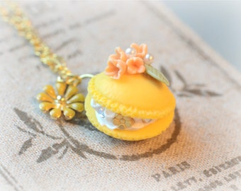 Handmade macaron jewelry, french pastry cake necklace, fake yellow macaron orange flower, flower charm, lolita accessories, gift under 20