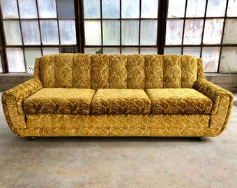 Vintage Mid Century Retro Bohemian Floral Print Gold Velvet Tufted Sofa On Wheels