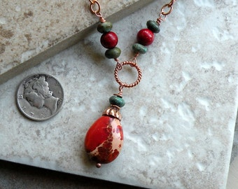 South West Necklace - Variscite, Turquoise, Sponge Coral and Bright Copper