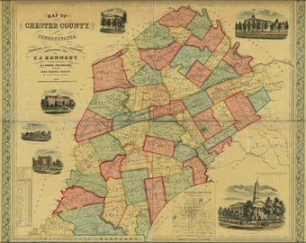 Poster, Many Sizes Available; Map Of Chester County, Pennsylvania 1856