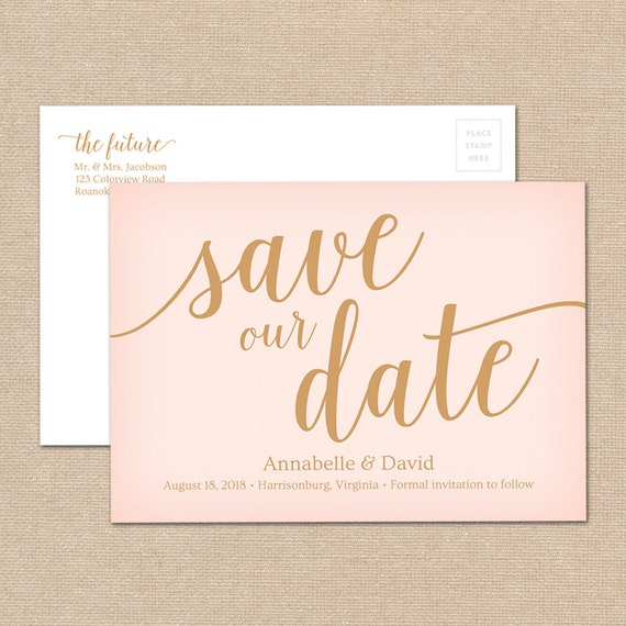 Blush Save the Date Postcard Template // Pink Save the Date