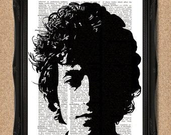 Bob Dylan Print Vintage Dictionary Page Black and White Portrait of the Great Songsmith A122
