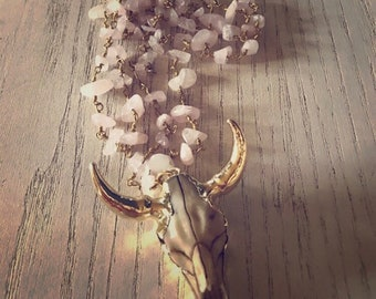 Rose Quartz Golden Longhorn Necklace