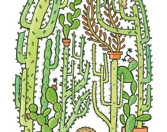 Quilliam's Cactuses, Archival Print